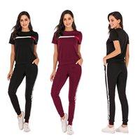 Siyah Burgonya Moda Yeni Günlük Spor Suit Kadın Eşofman Çizgili Tişörtlü + Pantolon 2 Adet Kadın Takımı Kıyafetler Boyut S-XL Toptan
