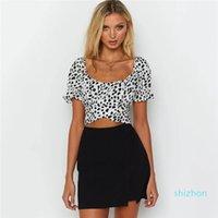 Heißer Verkaufs-Sleeve Crop Top Womens Designer-T-Shirt Sexy Frauen Designer Crop Top beiläufige Damen Kleidung-Bogen-Tupfen-Short