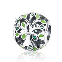 Green Smalto albero di vita Hollow Brandhead Charms FAI DA TE Fit Pandora 925 Bracciale in argento sterling in argento sterling