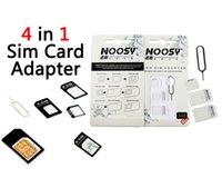 Nano SIM a Micro SIM standard dell'adattatore del convertitore di espulsione Pin Set 4 in 1 per iPhone Samsung Galaxy con imballaggio al minuto