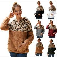 Tasarımcı Sonbahar Kış kadın Patchwork Leopar Baskı Hoodies Top Çift Taraflı Peluş Kapşonlu Tişörtü Rahat Spor Giysileri S-2XL E82002