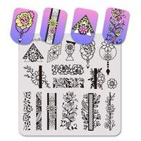 Prego Arte Modelos BeautyBigbang Square Stamping Plate Flor Grama Imagem 6cm modelo de aço inoxidável para 035