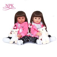 NPK 55cm long hair girls gift soft silicone vinyl doll newbo...