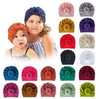 18 الألوان الطفل الكعك Hairbands كنيتيد القبعات رباطات مطاطا العمامة الصلبة أغطية الرأس رئيس التفاف الشعر الفرقة اكسسوارات IIA668