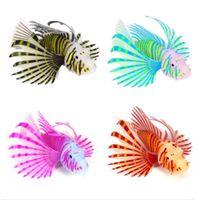 Adorno de peces de silicona Resplandor en peces de simulación luminosa oscura Pez LionFish Aquarium Artificial Tanque de agua Nueva Llegada 6 9SL C2