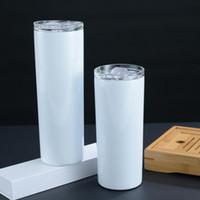 DHL Expédition Skinny Gobelets Blank 20 oz Sublimation Slim Coupe droite Tasses à café avec couvercle et paille en plastique chopes à bière FY4275
