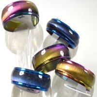 50PCS 레인보우 블루 패션 스테인레스 스틸 반지 남성 여성 패션 매력 반지 컬러 믹스 도매 보석을 많이