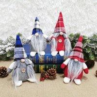 Amerikaanse voorraad 4 stijlen Buffalo Plaid Kerstpoppen Beeldjes Handgemaakte Gnome Faceless Pluche Nomes voor Ornamenten Geschenken Decoratie FY7176