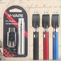 V-VAPE LO Pré-aqueça o VV bateria Blister Kit 650mAh Tensão Variável ajustável com USB Charger Para 510 de espessura de cera de petróleo do pré Aquecimento Cartucho