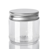 60мл пластиковые баночки Прозрачный Канистры ПЭТ Пластиковые хранения Бункеры Круглые бутылки с алюминиевым Люки Пустой Косметические Jar Контейнер GGA3644-3