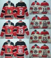 2016 atacado homens chicago blackhawks 2 keith 19 tows 81 hossa 88 kane 65 shaw vermelho bege hoodies com capuz jerseys hóquei camisolas