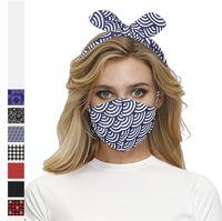 Les concepteurs Bandeau Masques multi-usages bande de cheveux Masque visage Combinaison de couleurs Tie Dye Tournesols Floral Plaid Hairband Masque bouche Couverture D9103