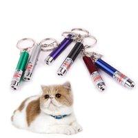 Caneta ponteiro laser vermelho Mini Cat LED engraçado Luz Pet Cat Brinquedos Keychain 2 In1 Tease Cats Pen GH480
