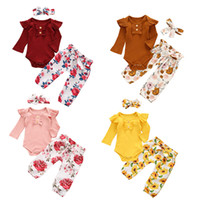 Baby Clothing Sets Girls Solid Long Sleeve Romper Top + Flor...