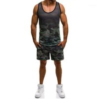 Shorts Vest Summer Casual Pullover Sleeveless Top Fashion Mens Sportswear Camouflage Printed Mens Designer Tracksuits Sports Running 2 Piece
