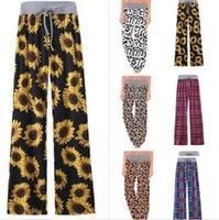 S-5XL Frauen Wide Leg Hose Drawstringgummiband Hosen Leopard Blumen Plaid Flare Pants Yoga lose Bloomers Heim Kleidung Plus Size E82001