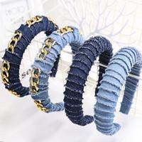 Denim bleu solide Denim rembourré bandeau rembourré pour femme Nouveau style chaîne en métal Bands de poils filles larges capillaires Hoop Accessoires de cheveux Déclaration bijoux