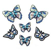 20200816 Handgemachte blaue Schmetterling Tuch Stickerei Tuch Stick Hand genäht Bekleidungszubehör Nagel Perlen DIY Kleidung Patch einfügen