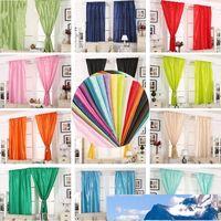 Color sólido cortina sala dormitorio Decorar paño de seda sombreado ventana Cortinas de boda Decoración de baño Accesorios 21jx5 CY