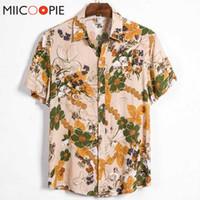 Новое лето мужчины рубашка с коротким рукавом Повседневная Стиль Button-Up Мужские рубашки Печатные Одежда Ретро Мужской пляж Цветочные рубашка блузка M-XXXL
