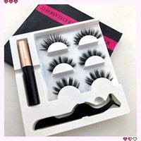3Pair Magnetic Eyelashes 3D Faux Mink Eyelashes Magnet Lashes Magnetic Liquid Eyeliner&magnetic False & Tweezer Set