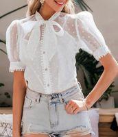 Blusas femininas camisas Hirigin elegante bolinhas malha blusa branco mulheres manga sopro laço laço laço escritório senhora curto botões tops
