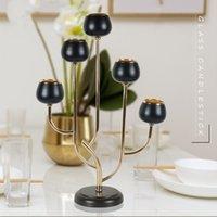 Bougies porte-bougie IMUWEN HOLDER 5 bras brillant plaqué or Candélabra romantique noir de luxe artisanat métal pour mariage