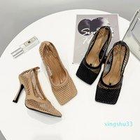 Hot Sale-MONMOIRA Vintage-quadratische Zehe Stretch Pumpen-Frauen Goldkette-Absatz-Schuhe Frauen Air Mesh Designer Damenschuhe SWB0224 Y200111