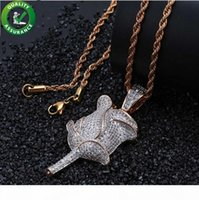 Iced Out Chains Hip Hop Bling Rose Flower Pendant Mens Neckl...
