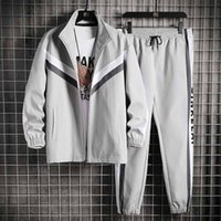 Mens Tracksuit Autumn Fashion Men Outdoor Active Two Piece Suits Top Quality Casual Men Panelled Sport Suit 2 Colors Asian Size M-4XL