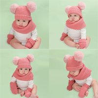 2021 New Baby Kids Winter Hat шарф и перчатки Девочки Вязаные Теплая шапочка Cap с шейный Круг Loop шарф крючком Hat 3шт / набор