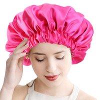 Nueva Hijab reversible satinado capo de la capa doble de gran tamaño Sleep Cap Noche cubierta de la cabeza del capo del sombrero por Rizados elástico del pelo Negro