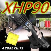 مشاعل مصباح يدافع 2021 XHP90 أقوى USB Zoomable LED XHP70.2 ضوء الفلاش التكتيكي الشعلة من 26650 أو 18650 بطارية للصيد