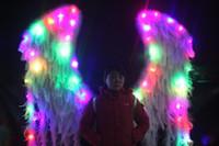 plumes d'autruche blanc naturel Ailes d'ange avec des lumières colorées BELLES apte pour le parti Stage Show Décorations d'affichage de fenêtre