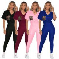 Women plus size 2 piece sets tracksuit t-shirt+leggings fall casual clothing S-3XL V-neck sports pullover+leggings sweatsuit capris DHL 3652