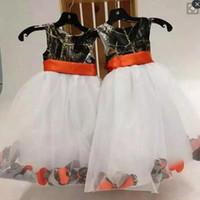 여자 통신 드레스 아동 정장 파티 드레스 착용을위한 웨딩 리본 A 라인 카모 미인 대회 드레스 귀여운 카모 꽃 소녀 드레스