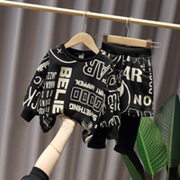 Kids casual outfits 2020 fall new boys letter printed long sleeve sweatshirt+shorts splicing pants 2pcs children jumper sets A4058
