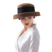 السيدات الصوف القبعات ورأى الصوف مع زهرة الحجاب الشتاء فيدورا للنساء الأداء Fascinator شقة واسعة بريم خمر قاء زجاجي قبعة M67