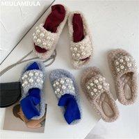 MIULAMIULA Brand Design 2020 Hot Fashion Luxury Pearl Comfy Дно Мягкая Fur Слайды Плоский Трусы Мокасины Мулы Вьетнамки Вне