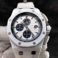 Erkek Süper JF En İyi Kalite ETA 3126 Chronograph Beyaz Kauçuk Dalgıç Hareketi ile Beyaz Kareli Seramik Arama Arama Erkek Spor Saatleri
