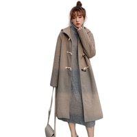 Laine de femme mélange hiver manteau de laine femmes de style long pont vintage étudiant cornet à capuche de corne à capuchon recto-côté