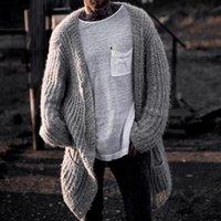 남성용 스웨터 Cysincos 두꺼운 카디건 코트 남자 슬림 피트 점퍼 니트 따뜻한 겨울 가을 미디 스웨터 긴 솔리드 스웨터