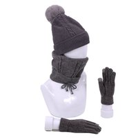 Winter Accessories 3 Pcs Knitted Hat Scarf Gloves Set For Wo...
