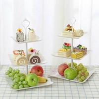 3 الطبقة كعكة البلاستيك حامل لوحات شاي بعد الظهر حفل زفاف أدوات المائدة أدوات خبز كعكة متجر ثلاثة كعكة طبقة رف التخزين صينية