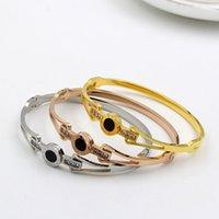 Acero CZ Zircon 316 Titanio Acero Amor Color Crystal Gold Marca Lover encanto pulseras brazaletes para las mujeres de los hombres