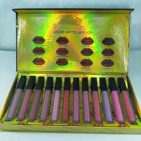 Beauty 12Colors Matte Liquide Rouge à lèvres Kit LiPgloss Marque Designer Maquillage avec livraison gratuite Lipgloss 12pcs / set