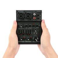 Freeshipping AGM02 2-Kanal-Soundkarte Digitale Mischkonsole Audio-Mixer 2-Band EQ Integrierte 48V Phantom Power 5V USB für DJ Live