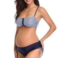 2 종 세트 임신 S-5XL 수영복 여성 섹시한 비키니 출산 여성 수영복 여름 해변 임신 의류를 설정합니다