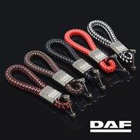 الحلي LQY سيارة جلدية حبل سلسلة المفاتيح مضفر عالية الجودة مقاومة للاهتراء ل DAF XFF CF LF XF الملحقات