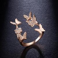 Diamant-Schmetterlings-Ring Offen Blume Kristall-Ring-Verlobungsringe für Frauen Modeschmuck Will und Sand Geschenk
